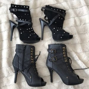 Pre-loved Strappy Black Lace Up Ankle Booties